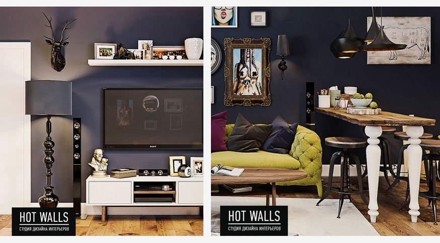 Холостяцкая квартира в стиле «Pop-Art»: гостиная