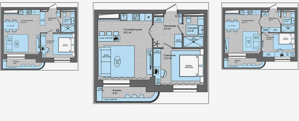 Холостяцкая квартира в стиле «Pop-Art»: варианты планировок
