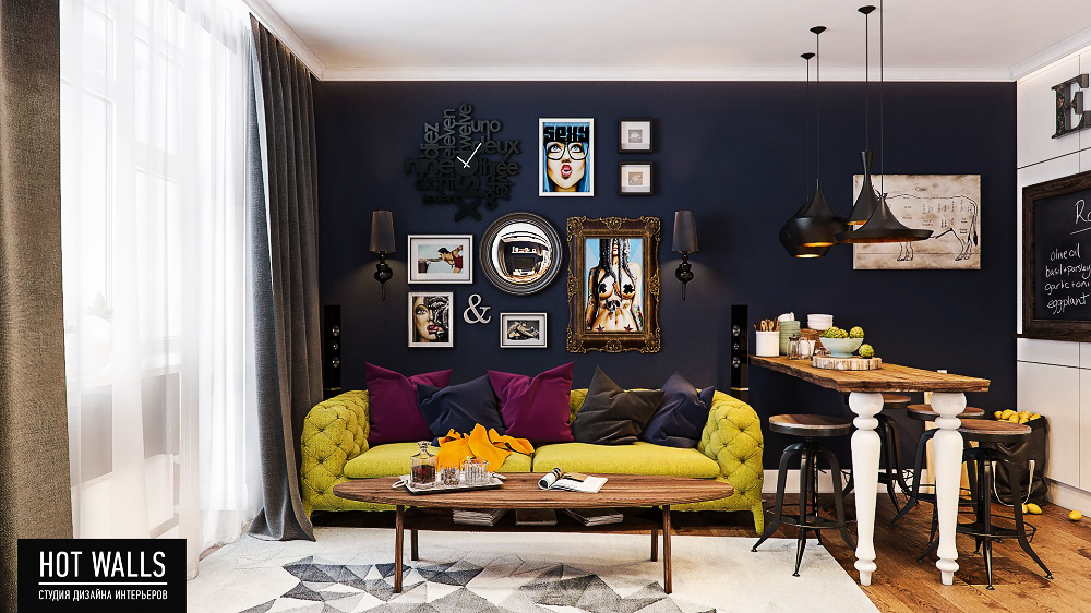 Холостяцкая квартира в стиле «Pop-Art»: вид на гостиную с кухни