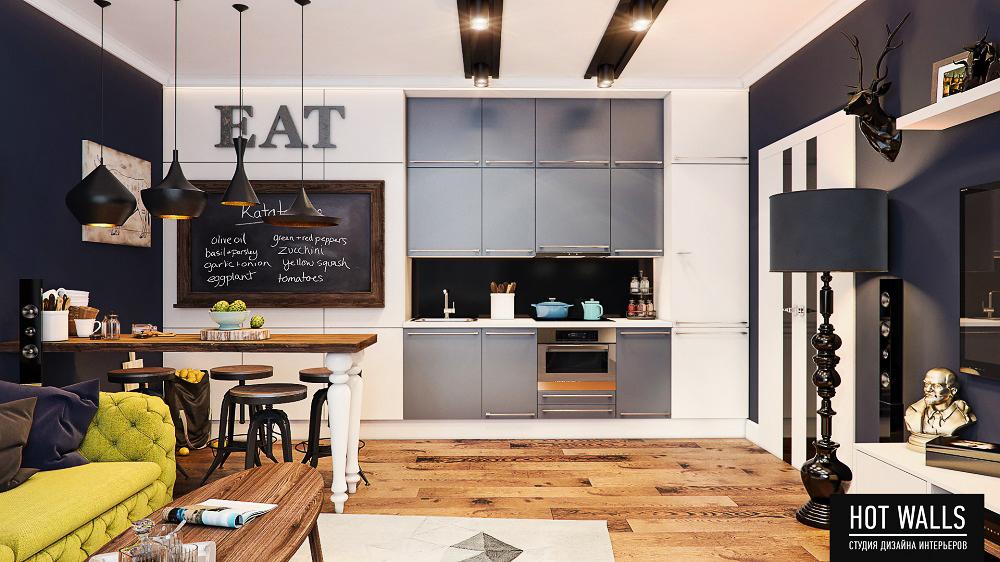 Холостяцкая квартира в стиле «Pop-Art»: вид на кухню