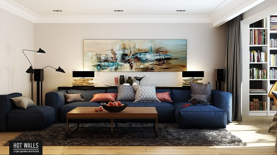Дизайн проект квартиры в ЖК «Москва»: вид на гостиную