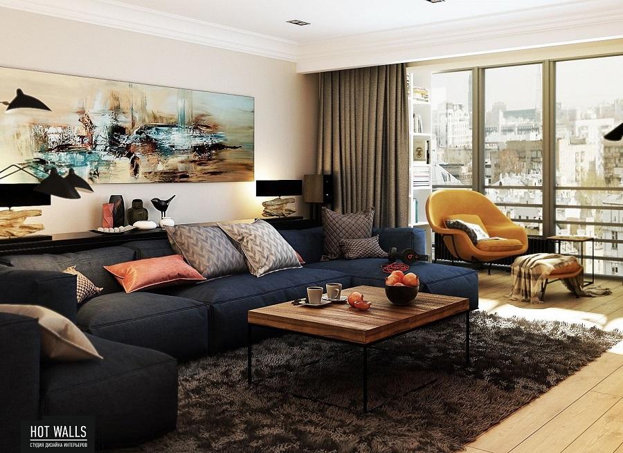 Дизайн проект квартиры в ЖК «Москва»: гостиная