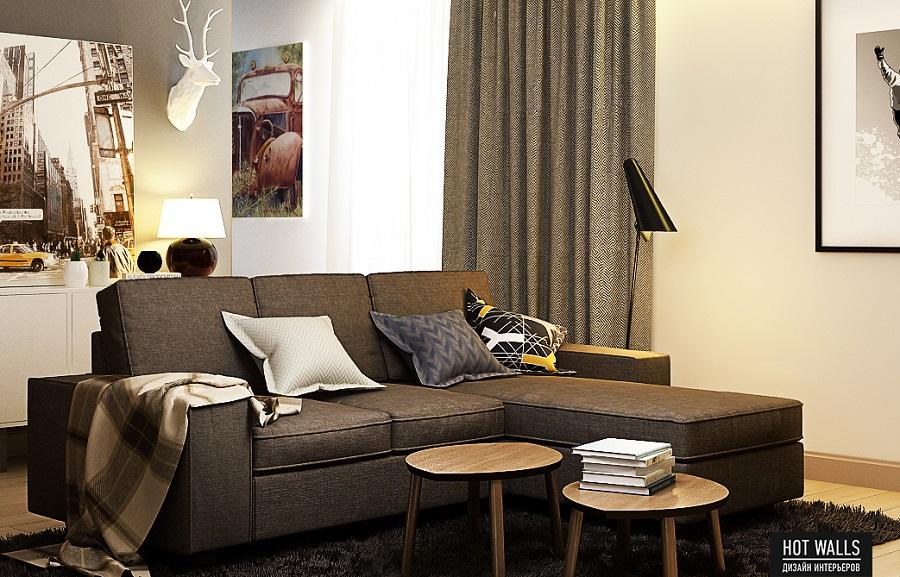 Дизайн интерьера квартиры в ЖК «Времена года»: диван