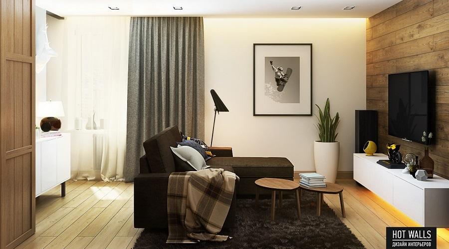 Дизайн интерьера квартиры в ЖК «Времена года»: вид на гостиную