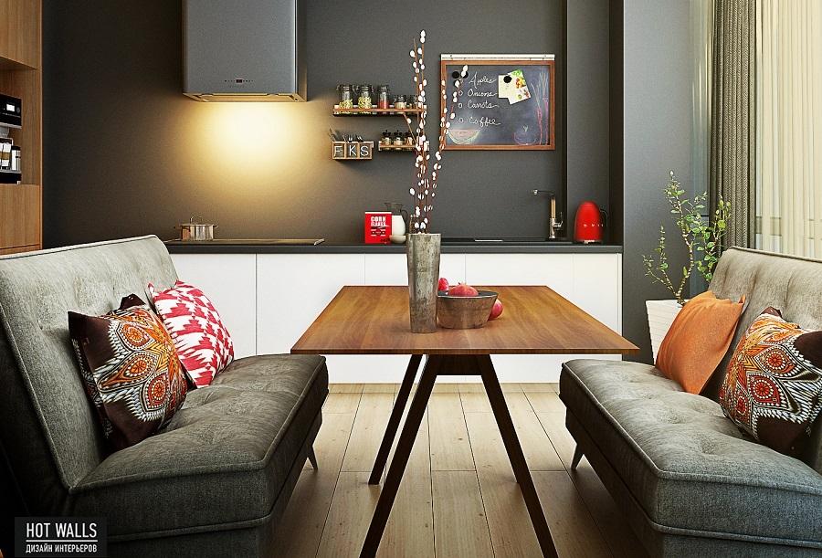 Дизайн интерьера квартиры в ЖК «Времена года»: кухня
