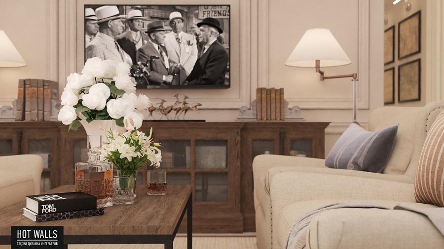 Дизайн интерьера коттеджа «Президентский люкс»: гостиная