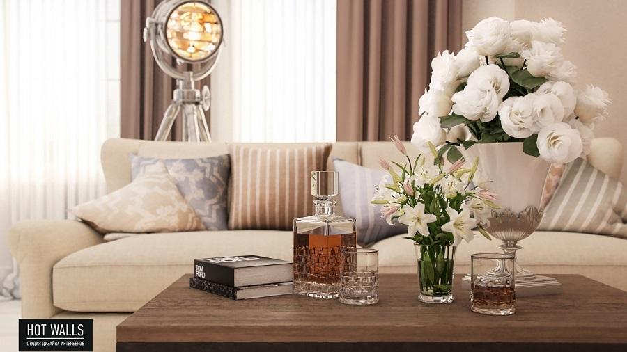 Дизайн интерьера коттеджа «Президентский люкс»: столик и диван