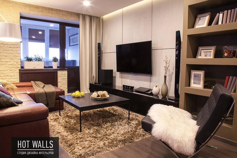 Дизайн интерьера 2-х комнатной квартиры, г. Екатеринбург, Вилонова 14а — вид на гостиную