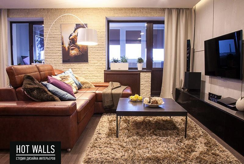 Дизайн интерьера 2-х комнатной квартиры, г. Екатеринбург, Вилонова 14а — Бетонная стена: гостиная