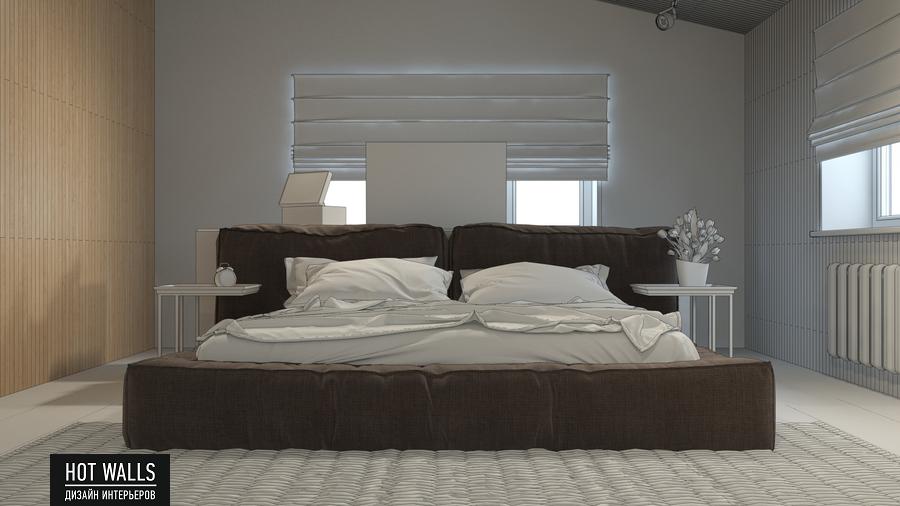 Дизайн интерьера дома в стиле Loft: эскиз спальни