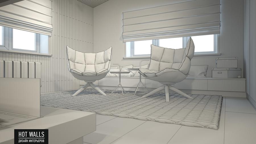 Дизайн интерьера дома в стиле Loft: эскиз комнаты отдыха