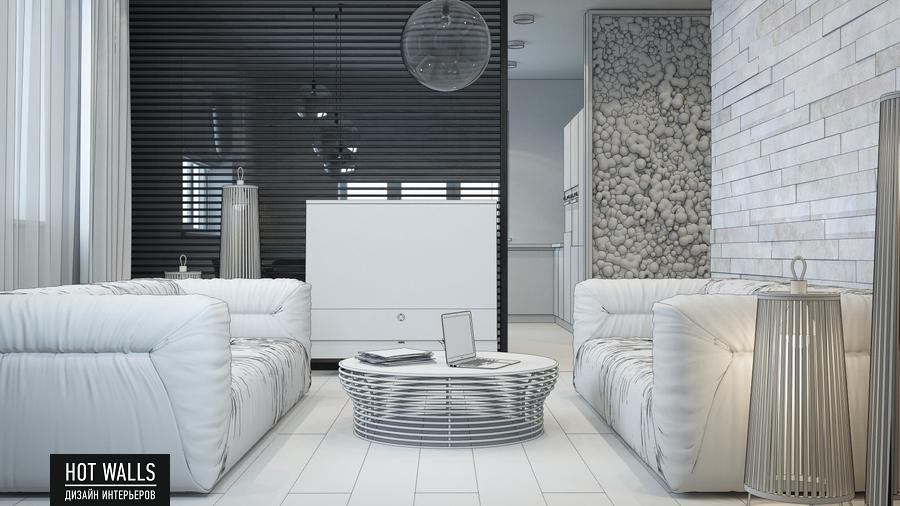 Дизайн интерьера дома в стиле Loft: эскиз гостиной