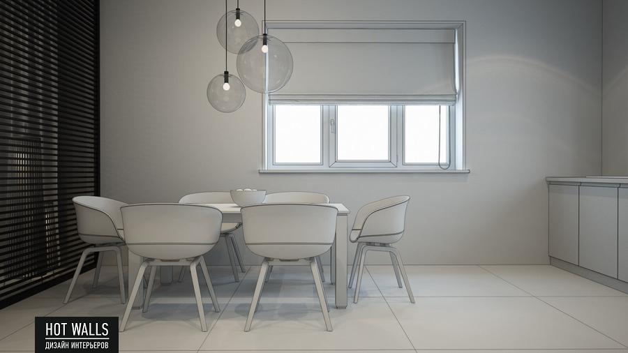 Дизайн интерьера дома в стиле Loft: эскиз кухни