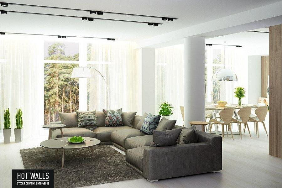 Дизайн коттеджа на Уралмаше: гостиная
