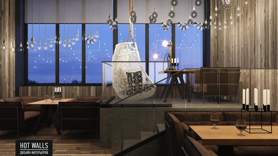 Дизайн интерьера бара-ресторана Tattler Bar: вид на окно
