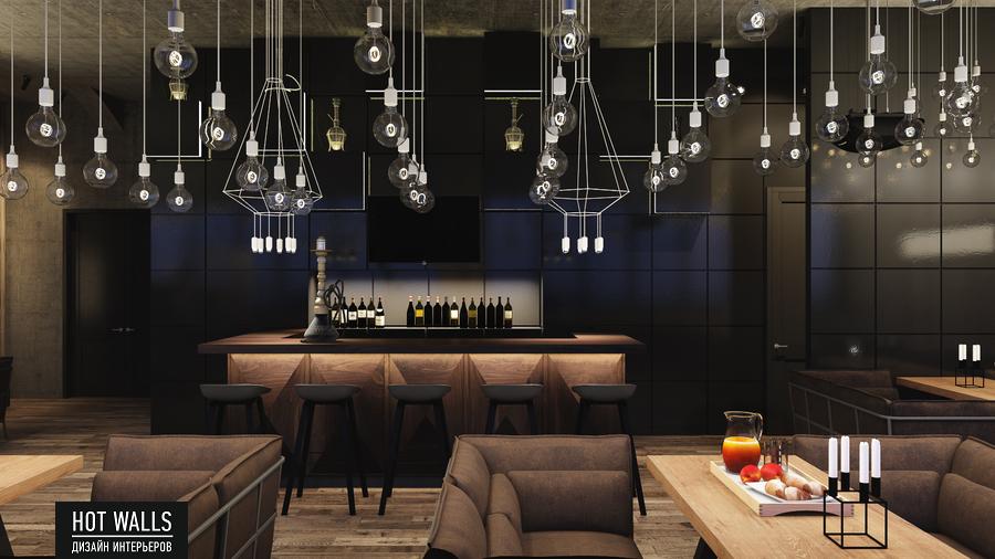 Дизайн интерьера бара-ресторана Tattler Bar: вид на барную стойку