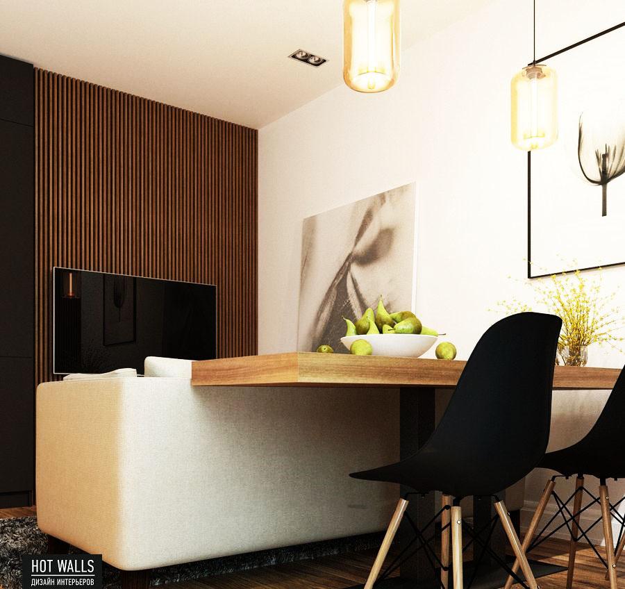 Дизайн интерьера 2-х комнатной квартиры в ЖК «Солнечный остров»: кухонный столик