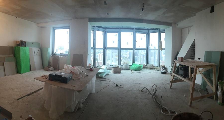 Дизайн интерьера 2-х комнатной квартиры, ЖК «Тихвин», г. Екатеринбург: подготовка под покраску