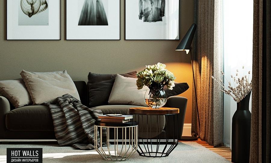 Дизайн интерьера 2-х комнатной квартиры в ЖК «Солнечный остров»: диван