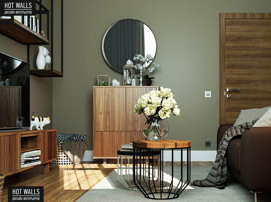 Дизайн интерьера 2-х комнатной квартиры в ЖК «Солнечный остров»: зеркало
