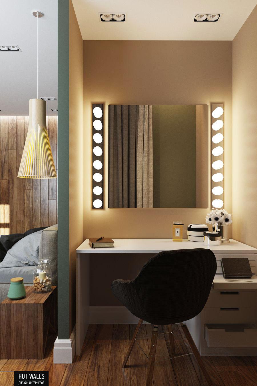 Дизайн интерьера 2-х комнатной квартиры в ЖК «Солнечный остров»: рабочее место