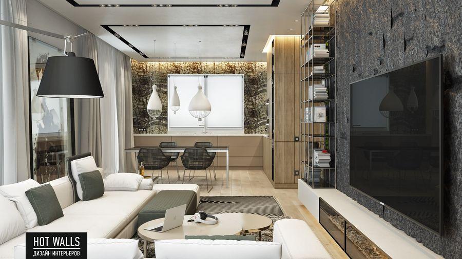Дизайн интерьера коттеджа г.Екатеринбург, поселок Карасьеозерский-2: вид с гостиной на кухню
