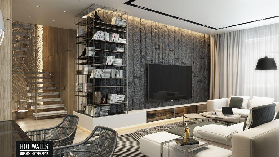 Дизайн интерьера коттеджа г.Екатеринбург, поселок Карасьеозерский-2: вид на гостиную и лестницу