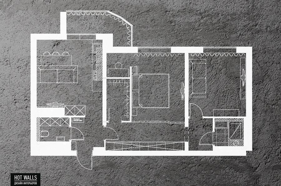 Дизайн интерьера 2-х комнатной квартиры в ЖК «Солнечный остров»: чертеж квартиры